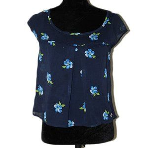Hollister Blue Floral Sheer Tank Top Size Small